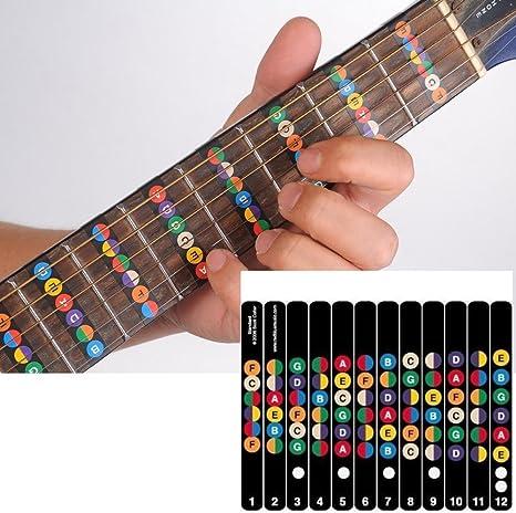 Diapasón de la guitarra Nota Adhesivos Guía Coded etiqueta de ...