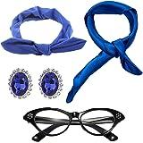 50's Costume Accessories Set Chiffon Scarf Cat Eye Glasses Bandana Tie Headband & Earrings