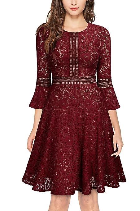 HUAN Womens Lace Dress,Ladies Long Sleeve Spring Fall Dresses,zipper Bottoming Shirt,