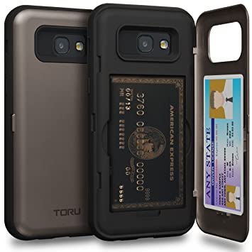 TORU CX Pro Funda Galaxy A5 2017 Carcasa Cartera con Tarjetero Oculto y Espejo para Samsung Galaxy A5 (2017) - Gunmetal Gris