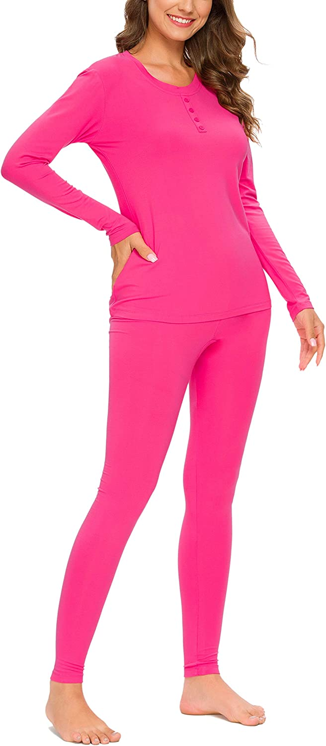 Rose Red,S YOZLY Lightweight Thermal Underwear Womens Base Layer Set Henley Long Johns