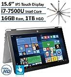 "HP Envy x360 15.6"" 2-in-1 Convertible FHD IPS 1080p Touchscreen Laptop PC| Intel Core i7-7500U | 16GB RAM | 1TB HDD | Backlit Keyboard | Bluetooth | HDMI | B&O Play | Windows 10"
