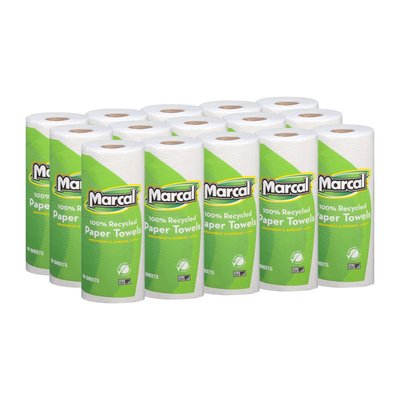 Marcal Paper Towels 100% Recycled 2-Ply, 60 Sheets Per Roll - Case of 15 Individually Wrapped Green Seal Certified 06709 by Marcal