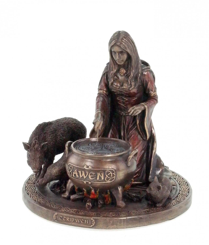 Veronese Figur Ceridwen Keltische Göttin der Fruchtbarkeit und Eingebung bronziert