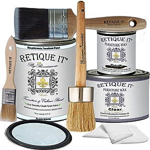 Retique It Chalk Finish Renaissance Furniture Paint-Innocence, Deluxe Starter Kit, 32 Ounces