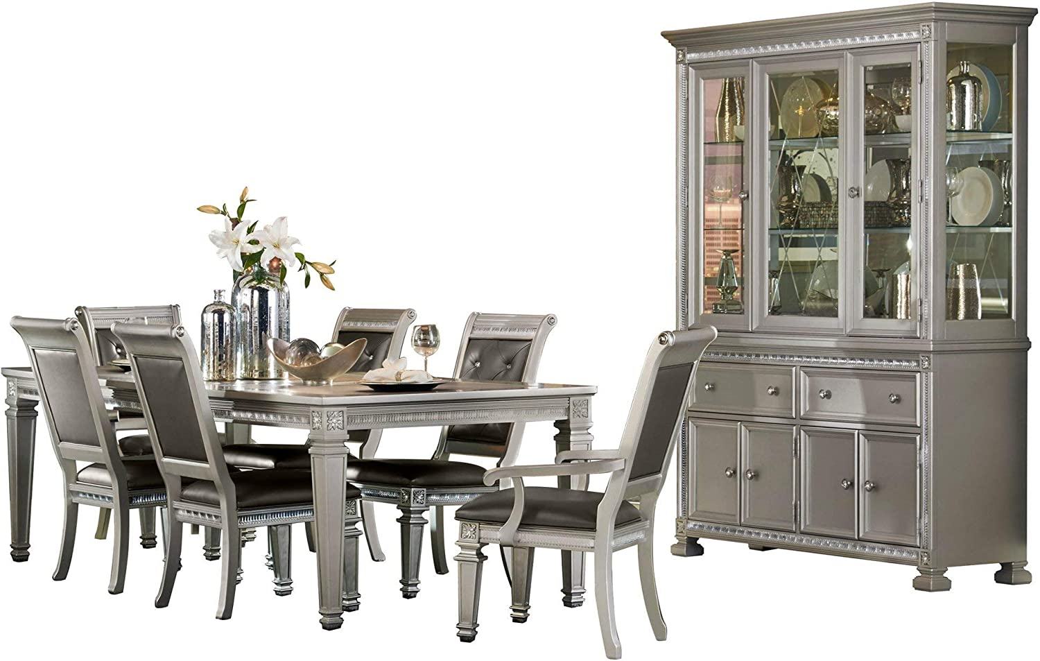 Bermuda Hollywood Glam 8pc Dining Set Table 2 Arm Chair 4 Chair Buffet Hutch In Silver Amazon Ca Home Kitchen