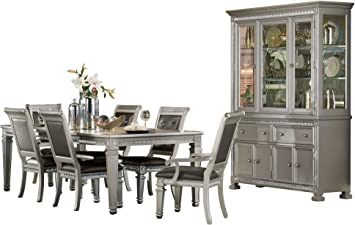 Amazon Com Bermuda Hollywood Glam 8pc Dining Set Table 2 Arm Chair 4 Chair Buffet Hutch In Silver Table Chair Sets