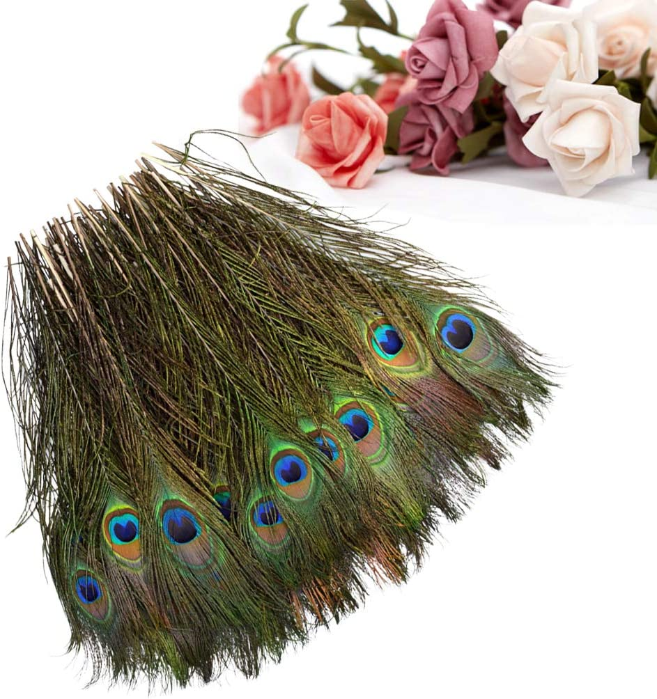 obmwang 72 Pieces 10-12 inches Natural Peacock Feathers for DIY Craft Wedding Party Home Decorations