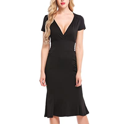ACEVOG Women's 50s Vintage V Neck Short Sleeve Pleated Swing Casual Party Dress at Women's Clothing store