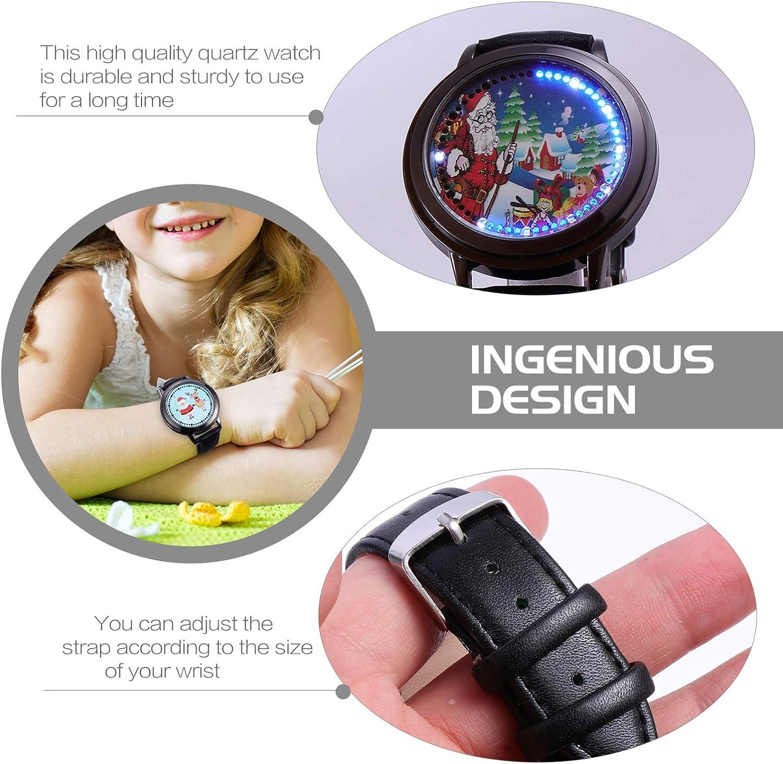Hemobllo Weihnachtsquarzuhr Führte Touchscreen-Uhr wasserdichte Leuchtende Armbanduhr für Jungen Mädchen Neujahr Geburtstagsgeschenk Stil 1 Stil 3