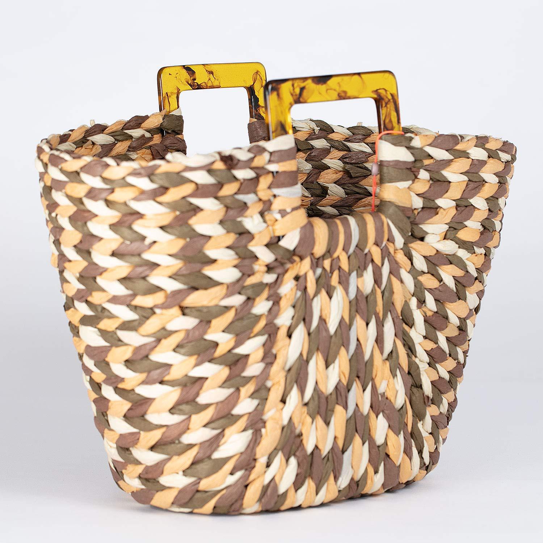 Handväska med dubbla sömmar dam Weavs Bag – handväska av 100 % hållbar pappersrem – storlek 43 x 21 cm – olika färger Svart skog