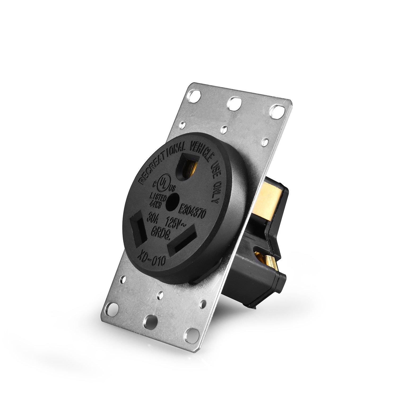 Aweking UL Listed 30 Amp 30A Power Receptacle Outlet NEMA TT-30R,Industrial Power,125 volt,nema,TT-30r Receptacle,Straight Blade,Flush Mounting,2 Pole 3 Wire,for EV RV Dryer Power