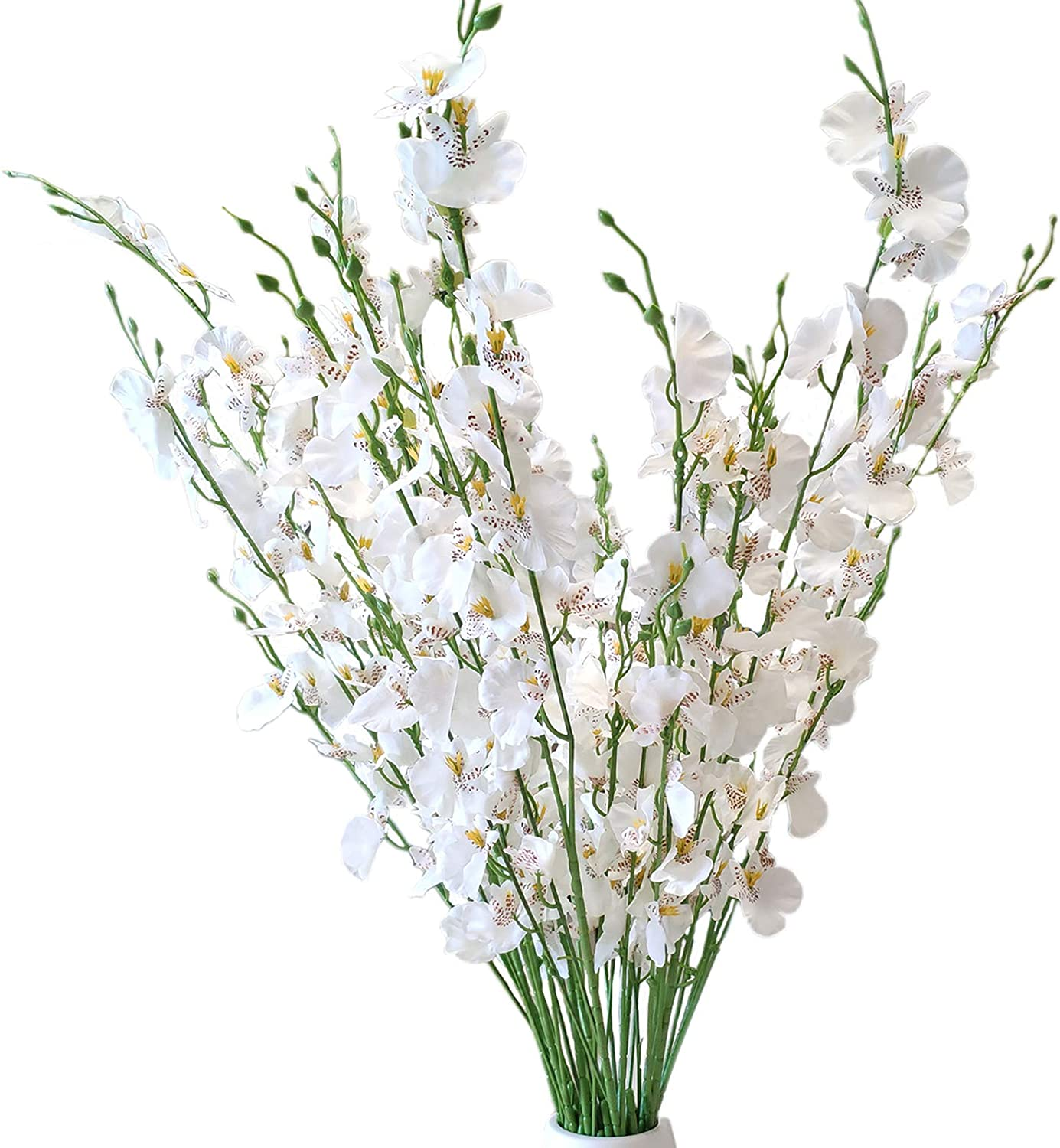Artificial Orchid Fake Flower Arrangement, Faux Orchid, Tall Silk Flowers White with Long Stems 37