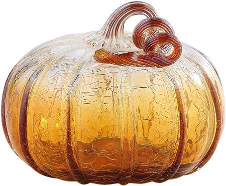 """New 8/"""" Hand Blown Art Glass Pumpkin Sculpture Fall Purple White Harvest"""