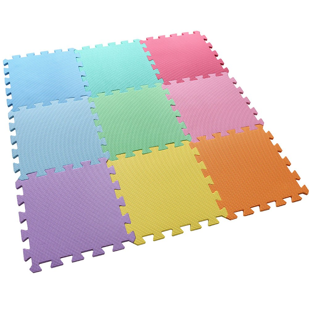 feet'sbook Eva Foam 9 Colors Gym Exercise Baby Kids Play Floor Mat,Interlocking Squares Puzzle Tiles,Waterproof,Reduces Noise,Non-Slip,Easy Install & Clean,Soft,Light