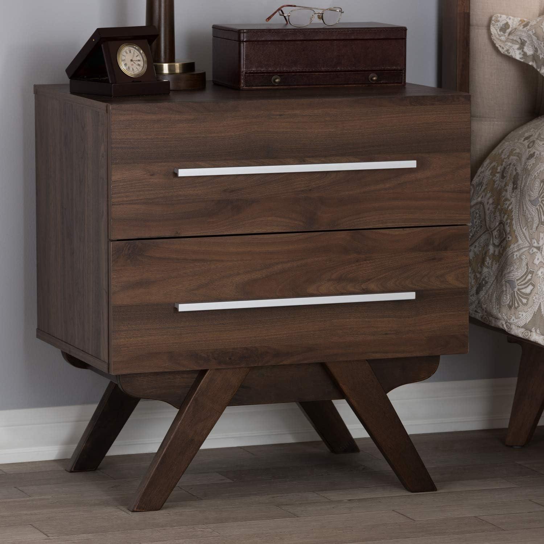 Baxton Studio Auburn Mid Century Modern Walnut Brown Finished Wood 2 Drawer Nightstand Mid Century Brown Medium Wood Particle Board Mdf Furniture Decor