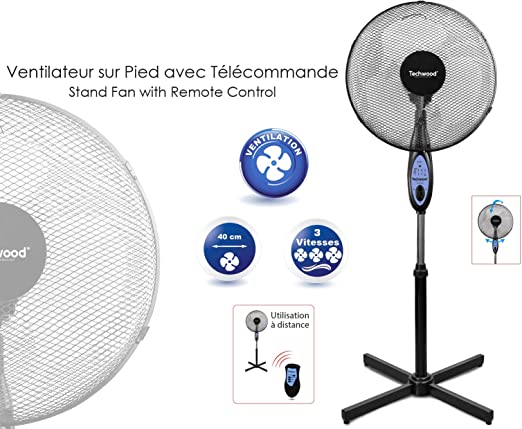 TECHWOOD Ventilador de pie con Mando a Distancia: Amazon.es: Hogar