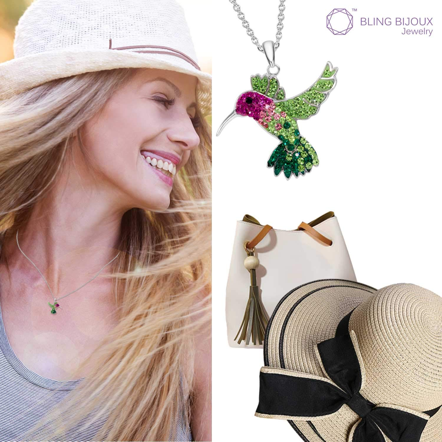 Colorful Flying Hummingbird Crystal Pendant Necklace Never Rust 925 Sterling Silver for Women, Girls & Teens, Natural & Hypoallergenic Chain with Free Breathtaking Gift Box for Special Moments of Love by BLING BIJOUX Jewelry (Image #5)