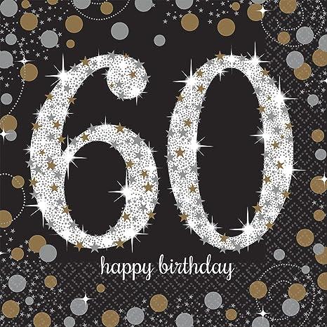 Amscan - Chispeante 60 Cumpleaños Celebración, 16 Servilletas, color negro y dorado