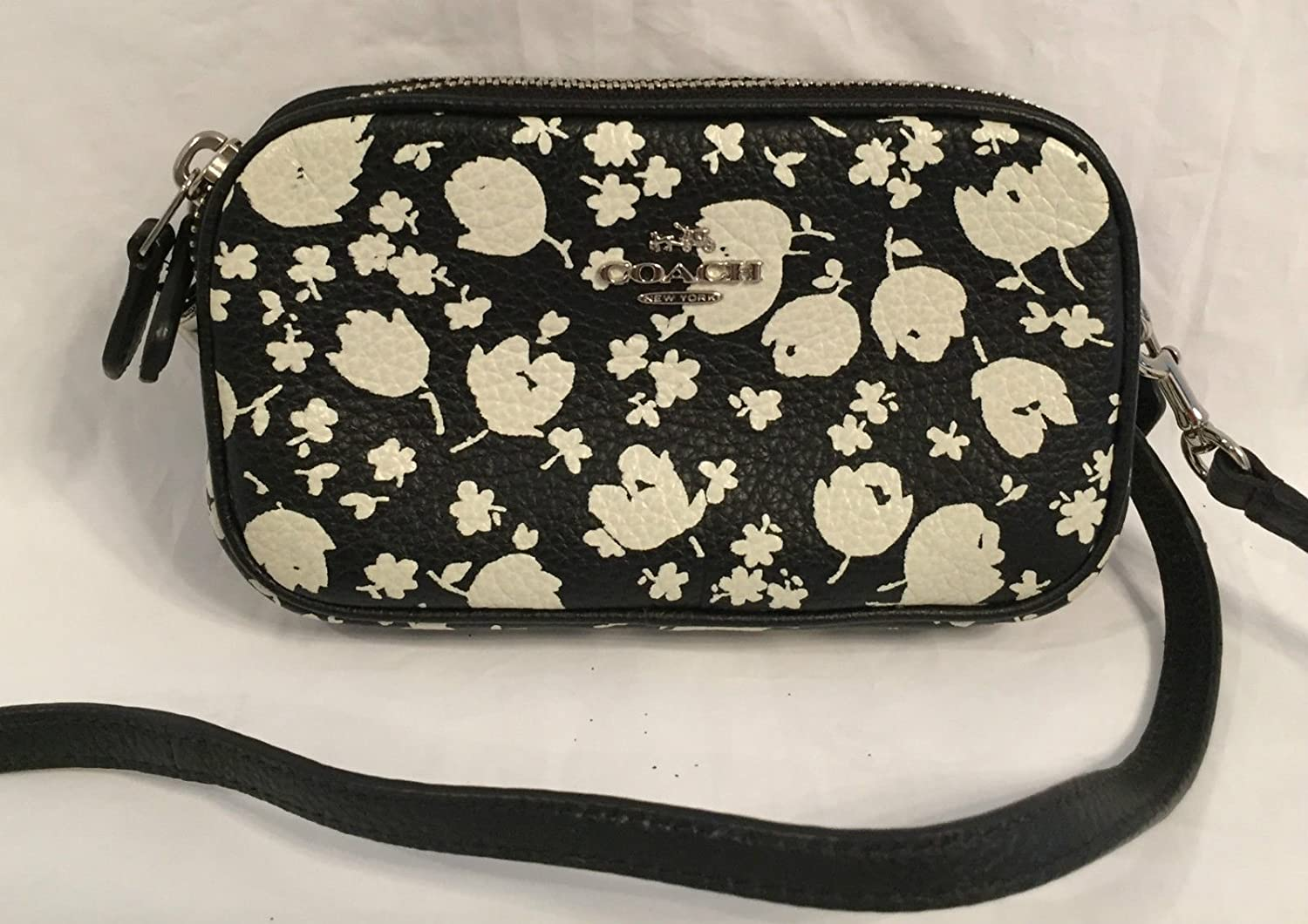 Coach 53482 Floral Crossgrain Leather Crossbody Pouch