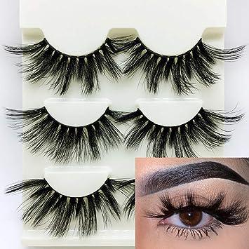 27e77347ae8 Amazon.com : 3Pairs 3D Mink Hair False Eyelashes Criss-cross Wispy Fluffy  25mm Lashes Handmade Eye Makeup Tools (Style 1) : Beauty