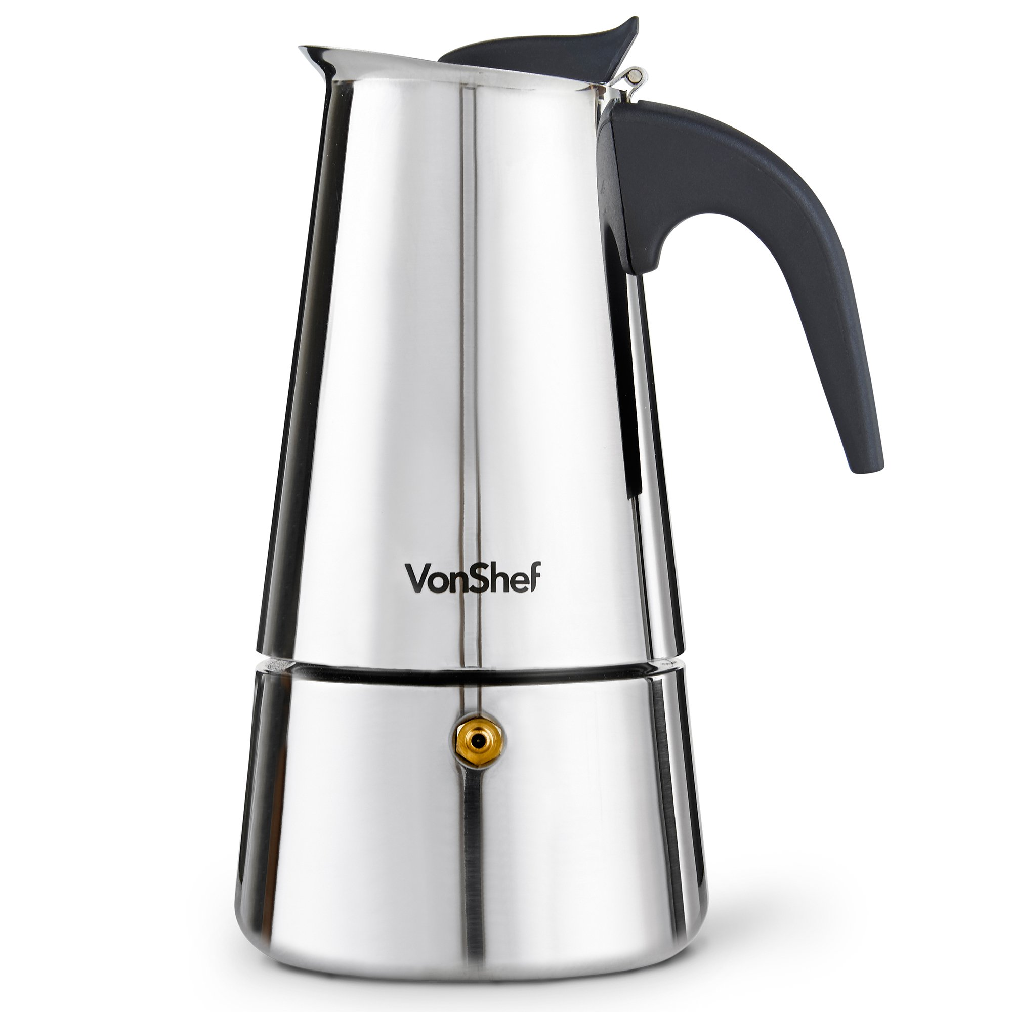 VonShef Stovetop Espresso Coffee Maker with 4 Glass Demitasse Cups, Stainless Steel, 6 Cup