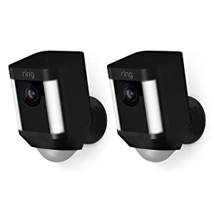 Ring Spotlight Cam Battery HD Security Camera with Built Two-Way Talk and a Siren Alarm, Black, Works with Alexa - 2-Pack