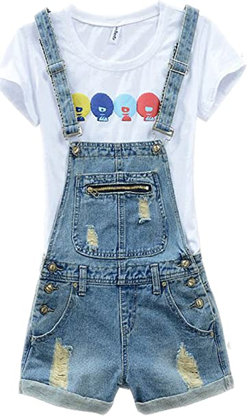 Luodemiss Women\'s Plus Size Cute Short Denim Overall Distressed Bib Cowboy  Jumpsuit with Shorts