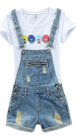 dd1573c7ab78 Women s Plus Size Cute Short Denim Overall Distressed Bib Cowboy Jumpsuit  with Shorts 38 Blue