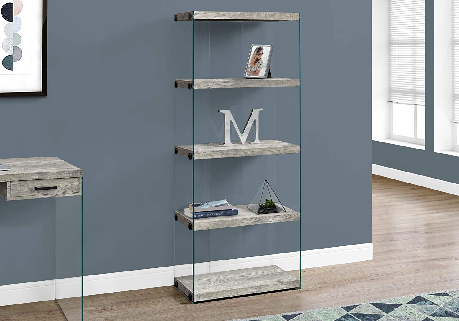 Monarch Specialties Bookcase – 5-Shelf Etagere Bookcase – Contemporary Look with Tempered Glass Frame Bookshelf – 60 H Grey