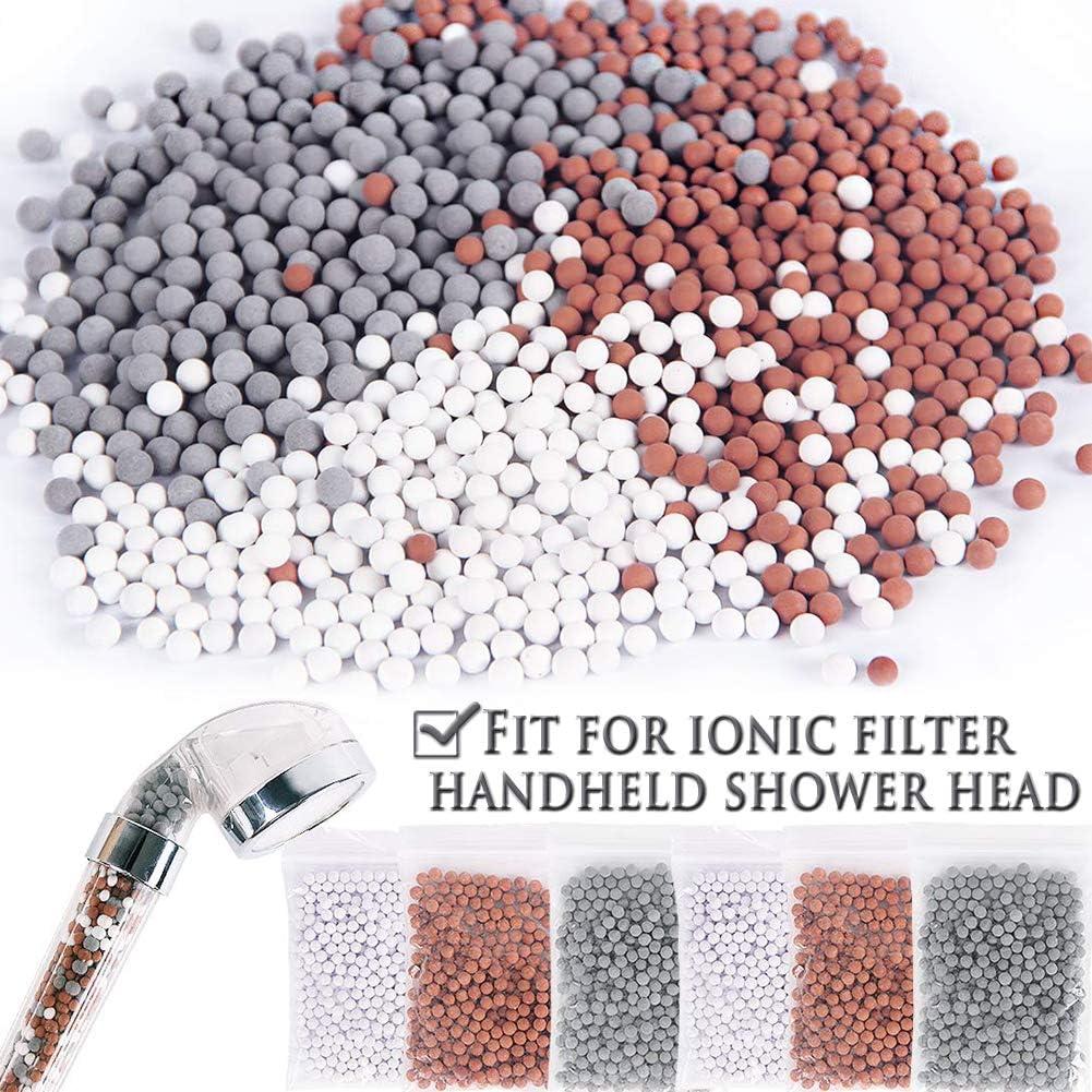INTVN 6 paquetes de bolas minerales de iones negativos, piedra bioactiva de repuesto para filtros iónicos de mano alcachofa de ducha- Gris/Blanco/Rojo
