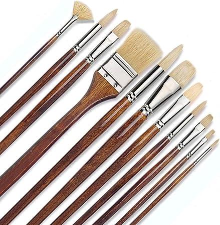 Fuumuui Pure Hog pincel de cerdas conjunto de pintura de artista, 11 piezas pincel de pintura