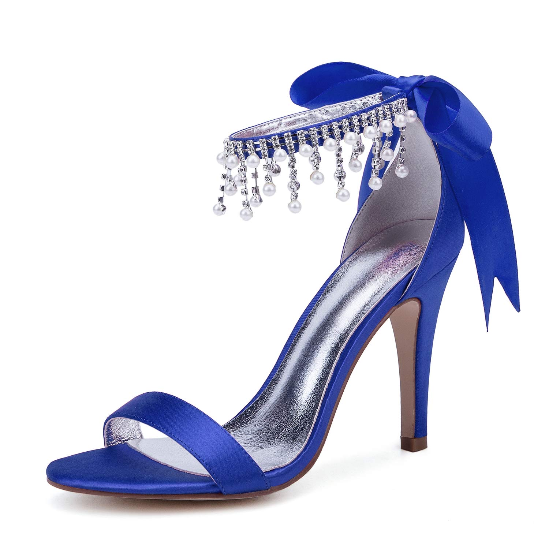 bleu JRYYUE Strass Strass Strass Cristal Mariée Chaussures de Mariage Mode Chaussures De Femme Femme Cheville Sangle Robe Soirée Chaussures Bout Ouvert Talons Hauts Escarpins Sandales Femme 10.5CM 3ac