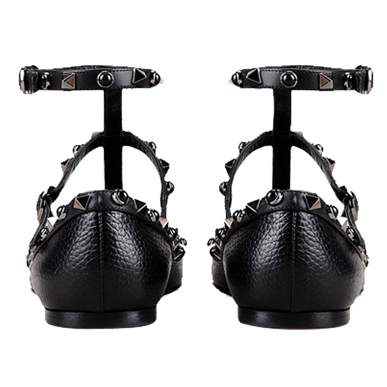 VOCOSI Women's Ankle Strap Studded Pointed Toe Pumps Rivets T-Strap Flat Pumps Dress B0794V5WSX 7 B(M) US Black(pattern With Gold Rivets and Black Gemstones)