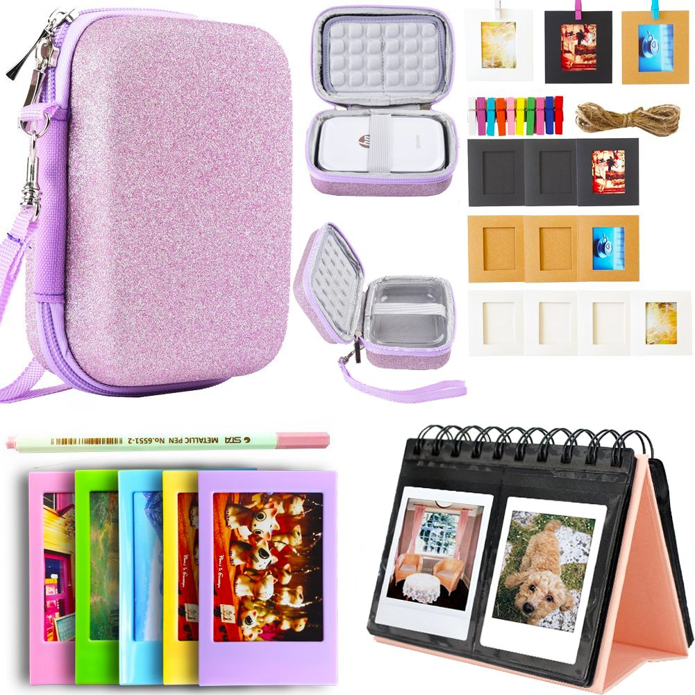 SAIKA HP Sprocket and Polaroid Zip Instant Printer Accessories - HP Sprocket Case(Clear Case Not Included), Photo Album, Wall Hanging Frame, Table Frame and Paintbrush - Glitter Pink