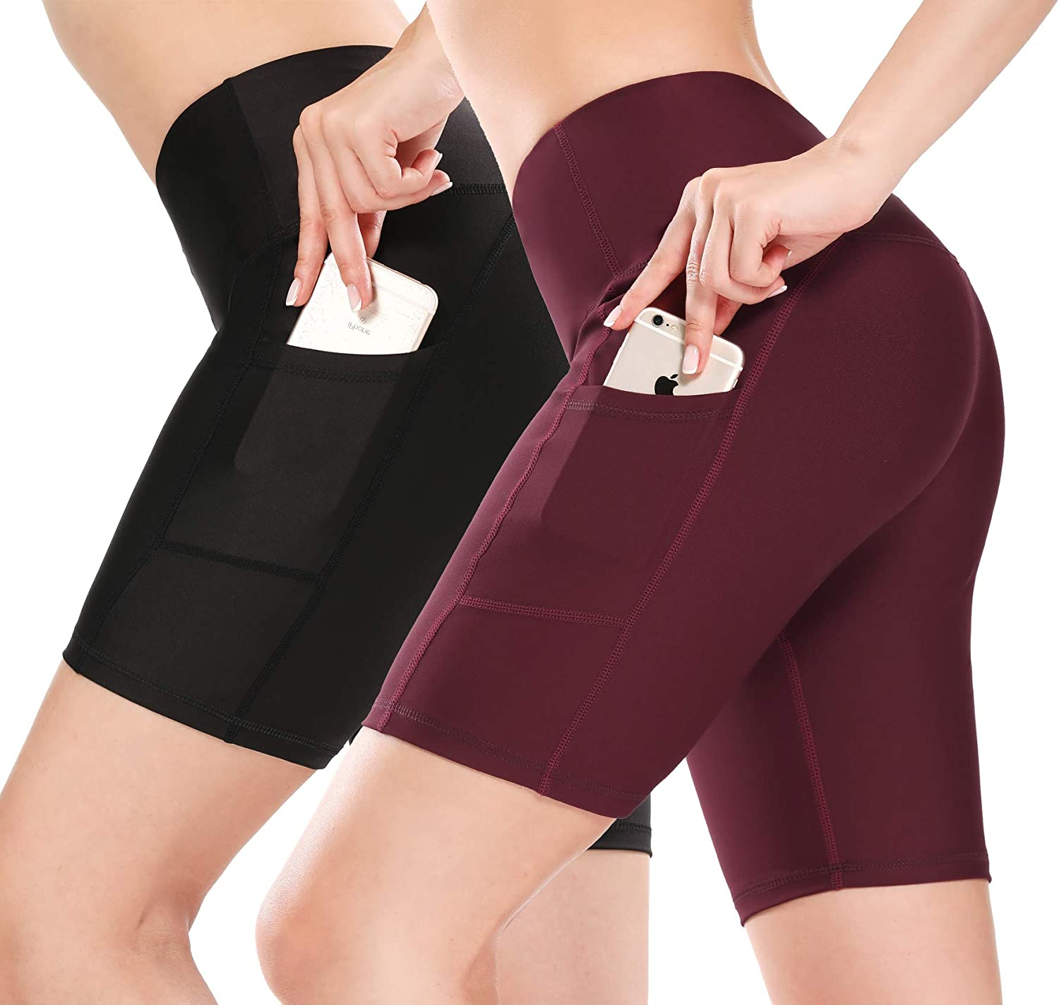SILKWORLD 2 Pack Compression High Waist Running Yoga Shorts with Hidden Pockets