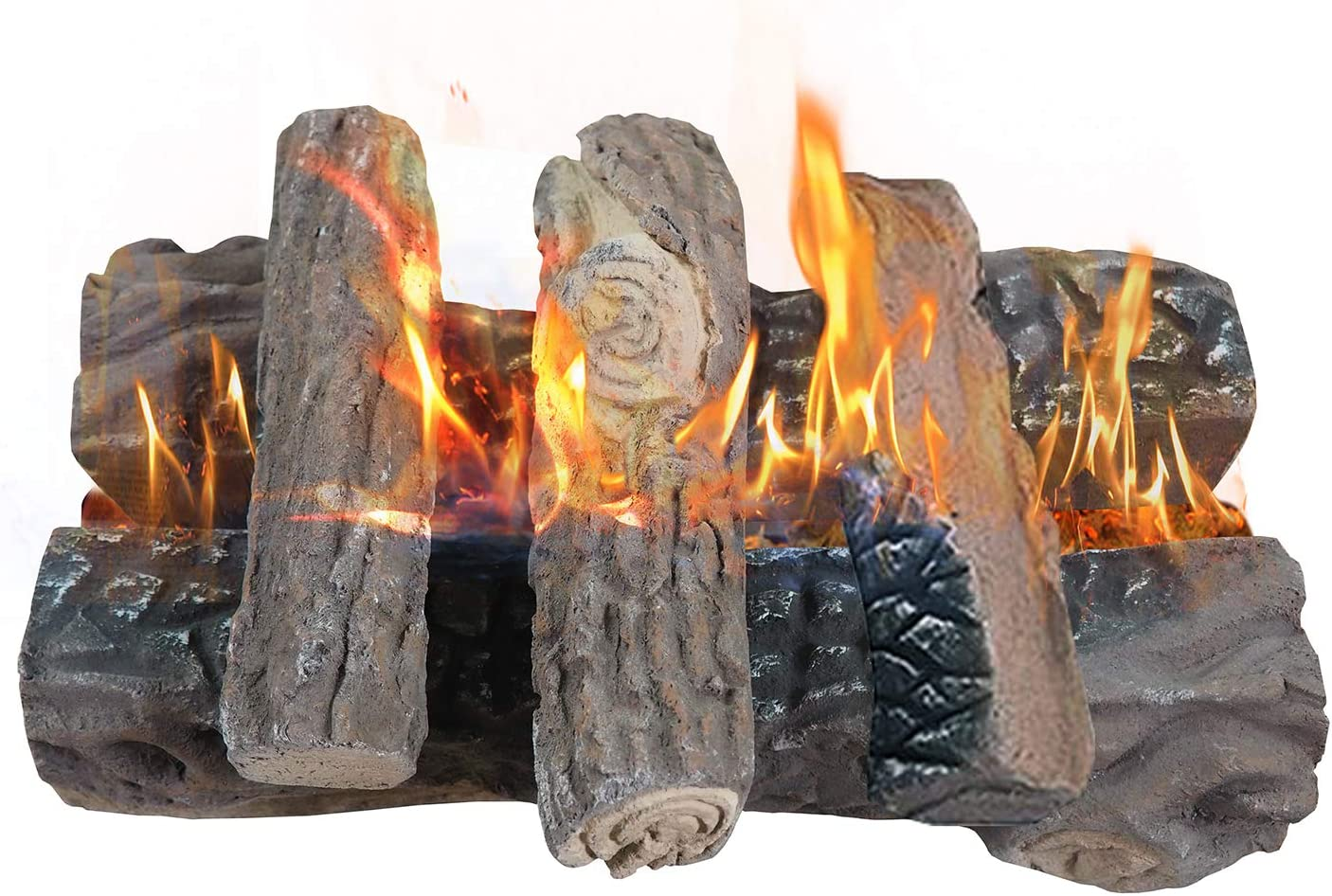 Gas Fireplace Logs, Large Ceramic Logs for Gas Fireplace, Artificial Realistic Firewood Logs Set of 5, Indoor Outdoor for Fireplace Firepit, Ventless & Vent Free