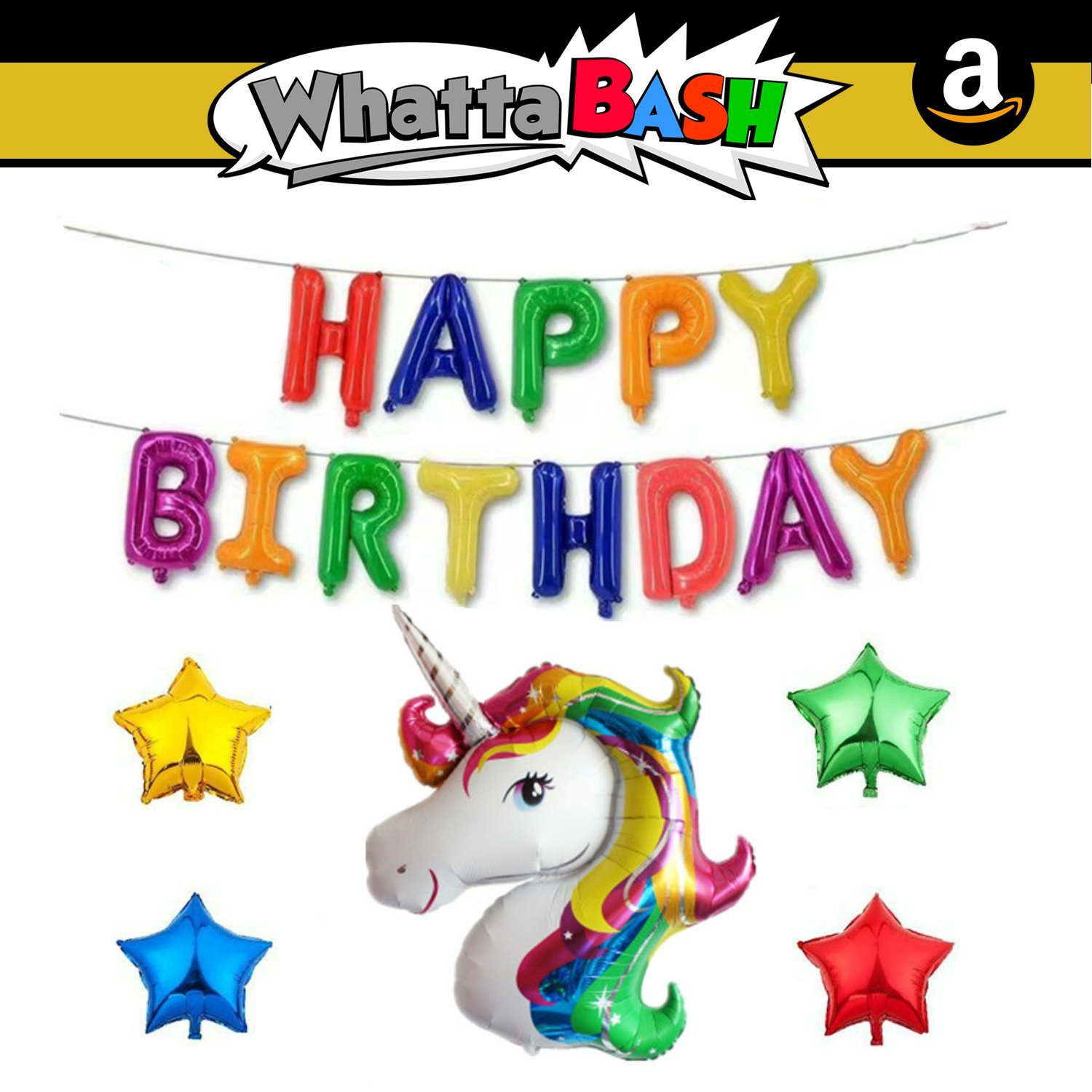Happy Birthday Rainbow Magical Unicorn Theme Decorations Banner Balloon Set (18 Piece) Unicorn Birthday Party Supplies for Girls Decoracion De ...