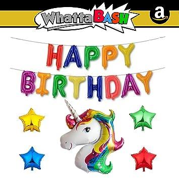 Happy Birthday Rainbow Magical Unicorn Theme Decorations Banner Balloon Set (18 Piece) Unicorn Birthday Party Supplies for Girls Decoracion De ...