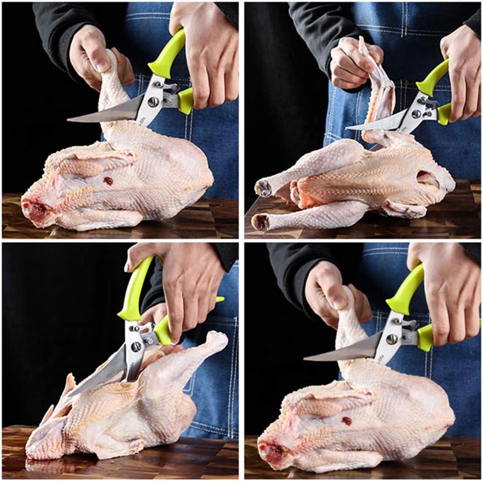 EastMetal Küchenschere - Hochleistungs-Küchenschere aus federbelastetem Edelstahl, Gute Griffe Mehrzweck-Geflügelschere mit rutschfestem Griff und sicherem Stift,Black Handle Red