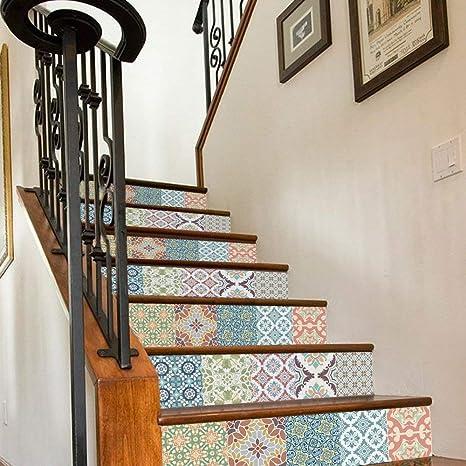 YAN Etiquetas engomadas de la decoración casera Etiquetas engomadas de la Escalera de la baldosa cerámica del Estilo Retro, renovación y escaleras Decorativas Etiquetas engomadas caseras de la casa,: Amazon.es: Deportes y