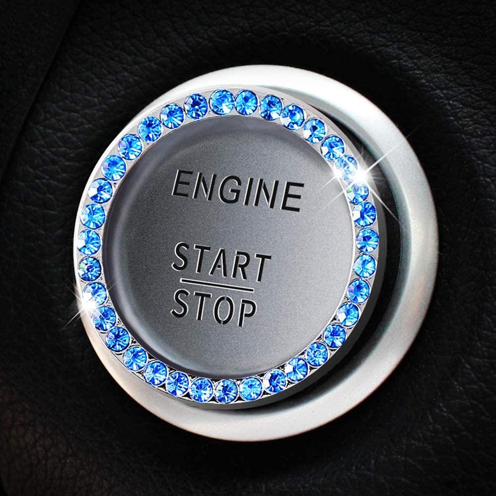 Goodream Bling Car Accessories, Diamond Car Decor Crystal Rhinestone Ring Emblem Sticker for Auto Start Engine Ignition Button Key & Knobs(2pcs Blue)