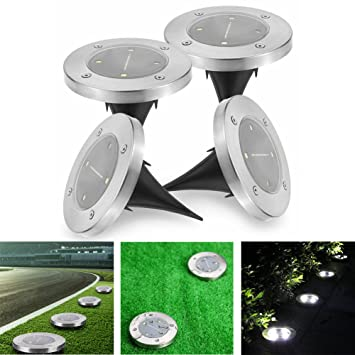 Outdoor Ground Lights Amazon solar powered lights outdoor ground lights huatk solar powered lights outdoor ground lights huatk waterproof garden landscape pathway lights automatically with 4 workwithnaturefo