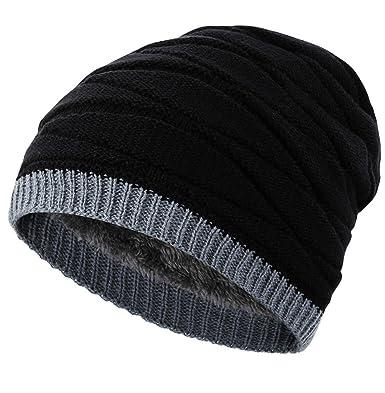 f61070ed069 Novawo Men s Knit Thicken and Fleece Lining Beanie Hat Winter Slouchy Warm  Cap