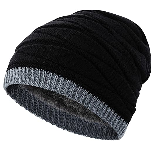 658f071c0 Novawo Men's Knit Thicken and Fleece Lining Beanie Hat Winter Slouchy Warm  Cap