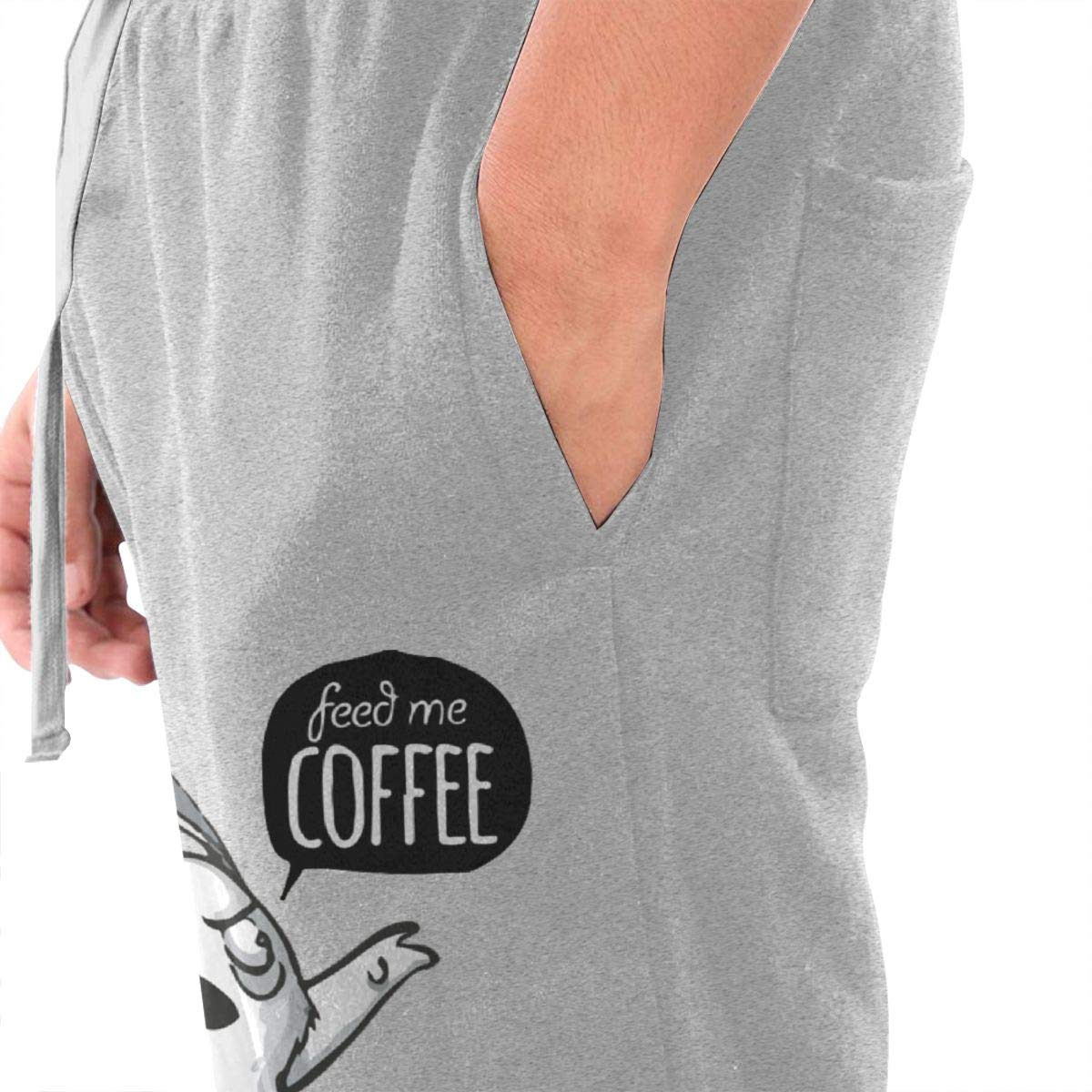 Dbou Feed Me Coffee Drawstring Waist,100/% Cotton,Elastic Waist Cuffed,Jogger Sweatpants Black