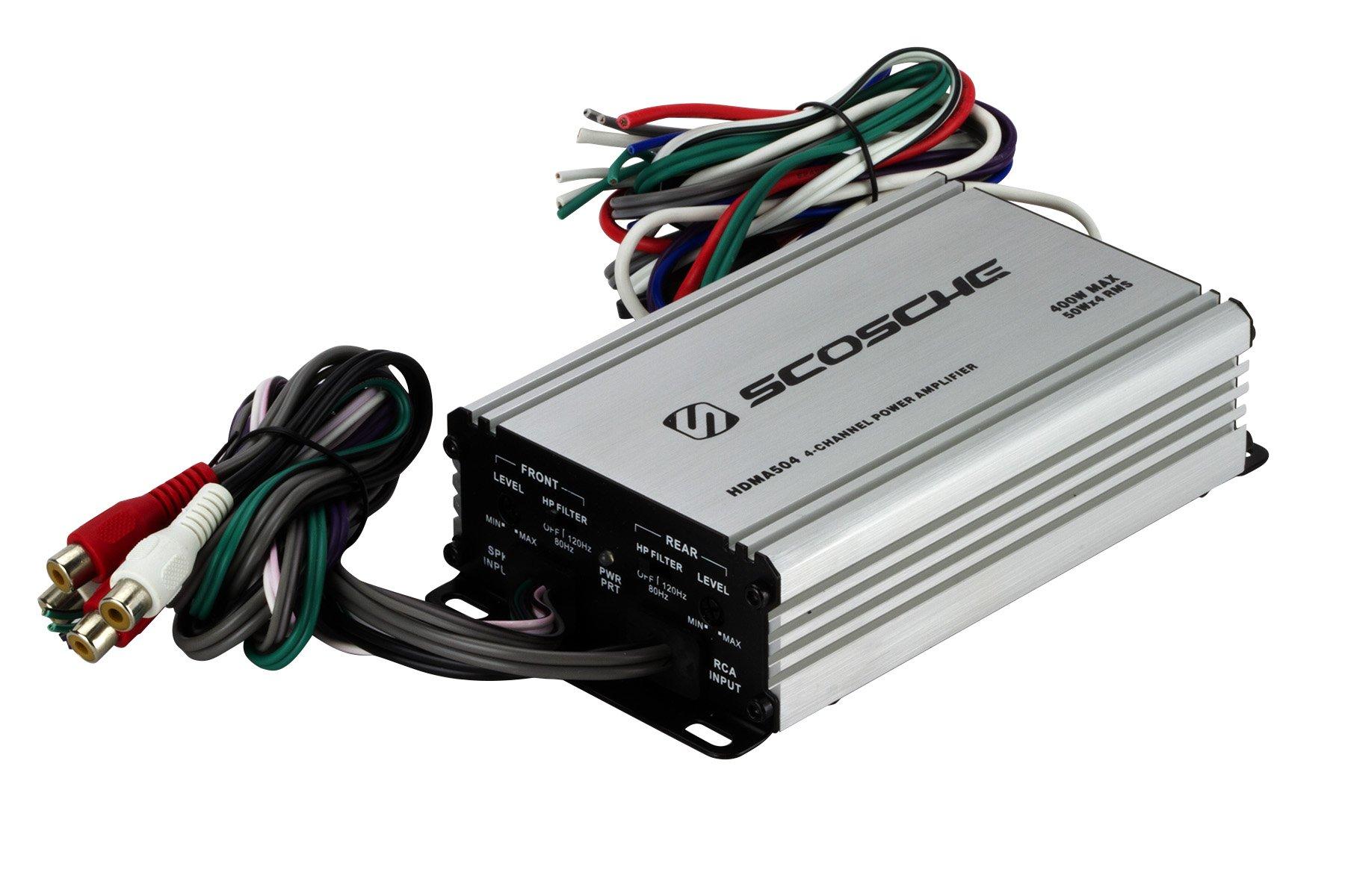 Scosche HDMA504I 4 Channel 400-Watt Max Mini Car Stereo Amplifier by Scosche