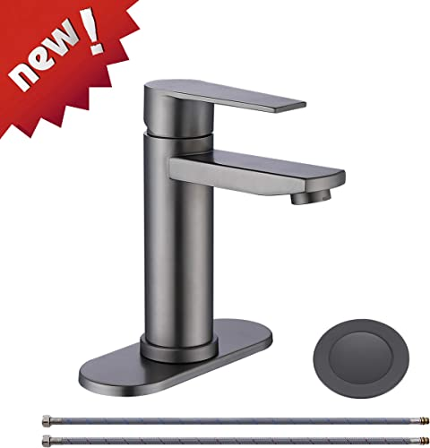 Mejor Modern Commercial Single handle bathroom faucet,with CUPC water lines and metal pop up drain with overflow,Black Stainless,ME029-BS