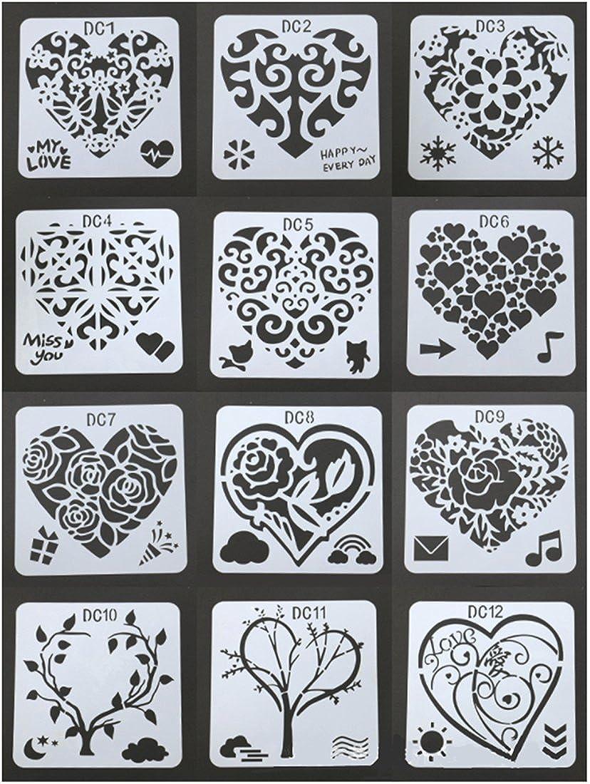 Buyby 12PC Scrapbook Stencils Template Decoration DIY Sketchbook Album Craft Art 13X13cm (12 Pack)