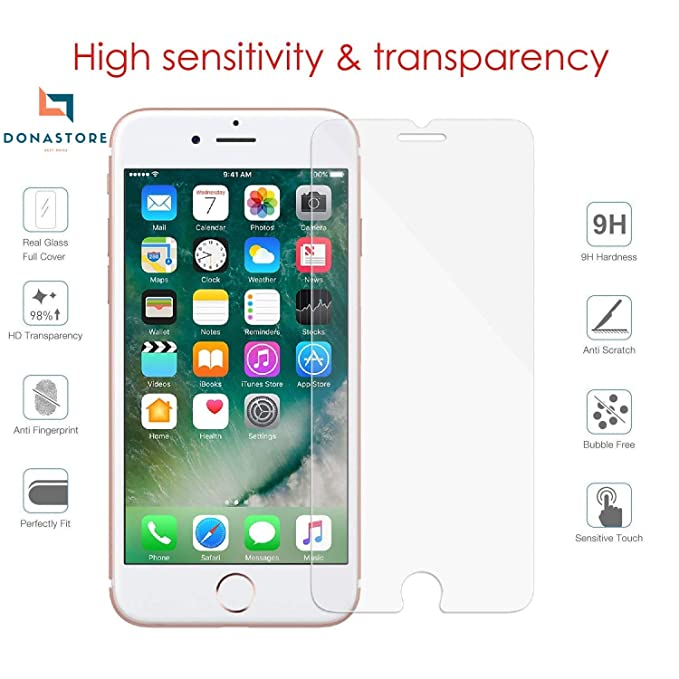 new arrival 89611 77b1f iPhone 7 / iPhone 8 Screen Protector Pack of 10 pz Tempered Glass 3D  Protective Film Protection Screen Cover Saver Guard Compatible for Apple  iPhone 7 ...